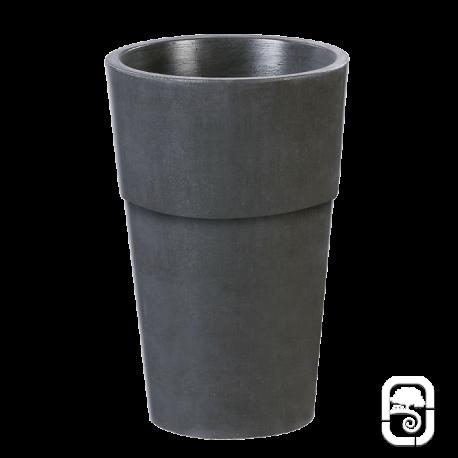 Pot rond haut béton ciré ardoise - 44X70cm