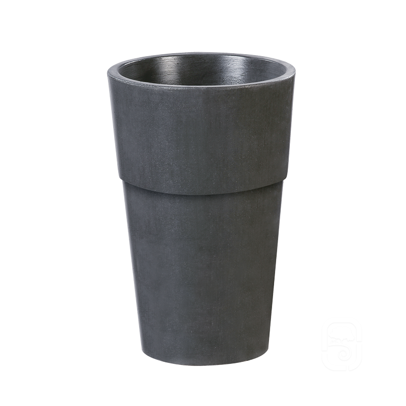 Pot rond haut b ton cir ardoise 44x70cm - Pot exterieur haut ...